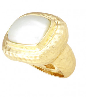 Hammered Texture Ring with Bezel Set Cushion Mabe Pearl