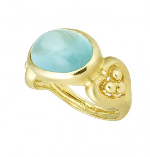 Oval Bezel Set Aquamarine Cabochon Ring
