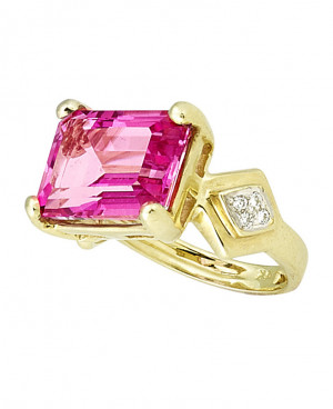 The Emerald Cut Pink Topaz Ring with .08pts of Pave Set Diamonds