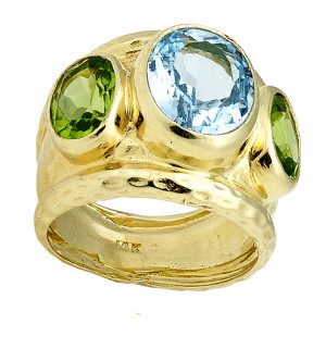 Hammered Three Stone Ring with Peridot Sides and Light Swiss Blue Topaz Center