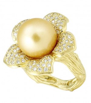 Flower Petal Ring with .92pts Diamonds and South Sea Pearl