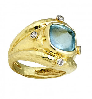 Aquamarine Buff Top Cabochon Ring with Hammered Texture and .16cts Diamonds