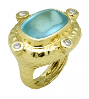 Large Hammered Texture Ring with Buff Top Cushion Shape Aquamarine and .40pts of Diamonds