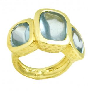 Three Stone Aquamarine Buff Cut Cabochon Ring