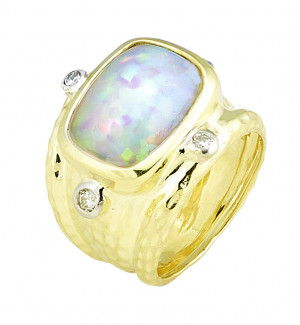 Hammered Ring with 5.13ct Cushion Opal & .24pts Diamonds