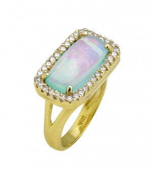 Ethiopian Opal Bar Ring with .50pts Diamonds