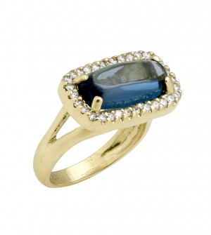 London Blue Topaz Cabochon Bar Shaped Ring with .50cts Diamonds