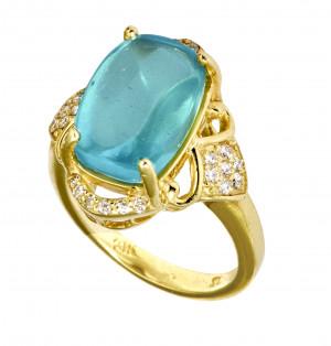 Aquamarine Buff Cut Cabochon Ring with .26pts Diamonds