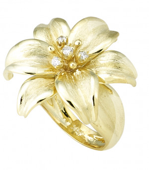 Larger Florentine Textured Lily Ring with .14pts Diamonds