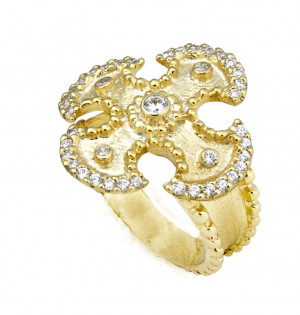 Maltese Cross Ring with Florentine Texture with .45cts Diamonds