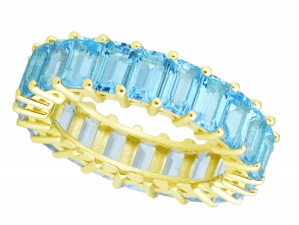 Blue Topaz Emerald Cut Eternity Band