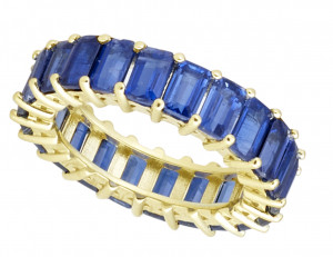 Royal Blue Kyanite Emerald Cut Eternity Band