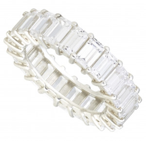 White Sapphire Emerald Cut Eternity Band