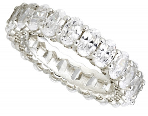 White Sapphire Oval Cut Eternity Band