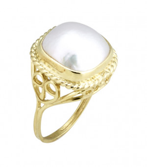 Filigree Ring with Bezel Set 12x12mm Cushion Mabe Pearl