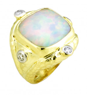 Hammered Ring with 15mm Cushion Opal (8.09ct) Accented with .40cts of Bezel Set Diamonds