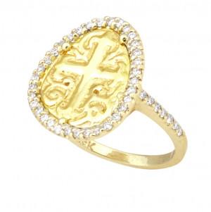 Cross Ring with .48pts Diamond Halo