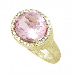 Florentine Textured 4.70ct Morganite Ring with .28pts Diamonds