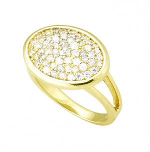 Oval Pave Diamond Ring .82pts